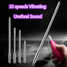 10 Speeds Stainless Steel Vibrating Urethral Sound Penis Plug Urethral Sounding Dilator Chastity Vibrator Sex toys For men women