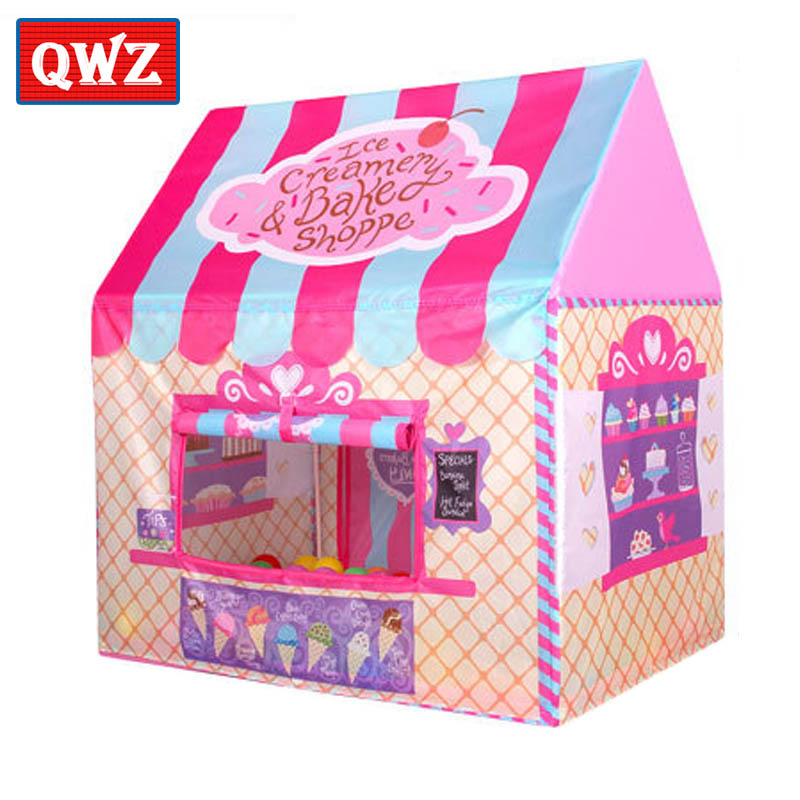 QWZ 2017 New Foldable Play Tent Children's Printing Castle Game House Indoor Room Play House Outdoor Princess Toy Tent Kids Gift(China)