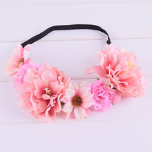 Peony Lilac Daisy Flower Crown Elasticity Headband Hairband Wedding Hairstyles Headwrap Floral Crowns Wedding Women Christmas(China)