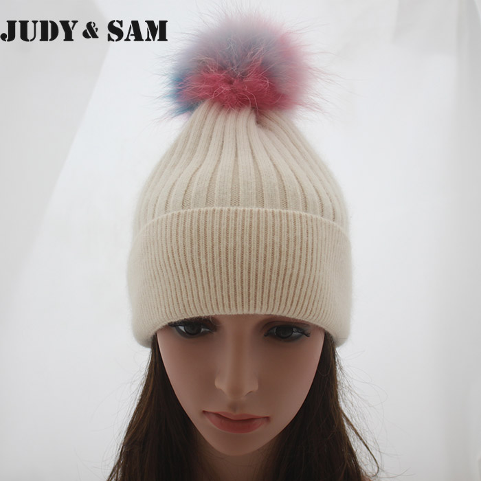 Brand New Winter Female Rabbit Hair Beanie Hat for Men With Real Raccoon Fur Pompoms Fox Fur Pompon Caps HatsОдежда и ак�е��уары<br><br><br>Aliexpress