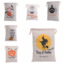 100pcs 2016 New Halloween Sacks Candy Gifts Bag Treat or Trick Drawstring Bag Cotton Canvas 36X48CM Kids Pumpkin Spider Tote Bag
