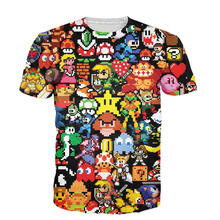 Alisister New 3D Arcade Collage T-Shirt Cartoon Character Pikachu Kirby Mario Chocobo Arcade Style T Shirt Men Women Unisex Tops(China)
