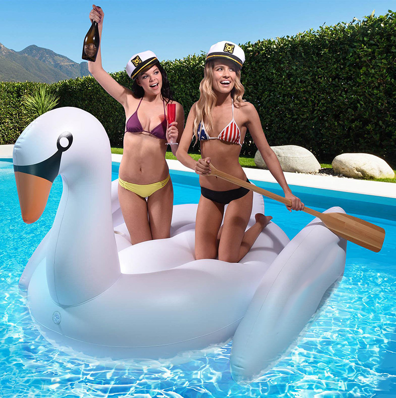 1-9m-75inch-Giant-Rideable-Swan-Swimming-Pool-Toys-Inflatable-Swan-Floating-Row-Swim-Ring-Beach