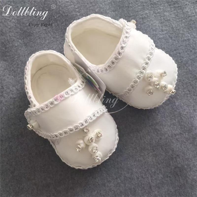 Flower Boy Baby Christening Baptism Nobility Prince White Custom Jesus Christian Cross Rhinstones Sewing Handmade Infant Shoes<br>