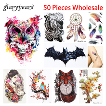 50 Pieces Wholesale Temporary Body Art Tattoo Flower Arm Sleeve Pattern Design Waterproof Tattoo Sticker for Women Men Halloween(China)