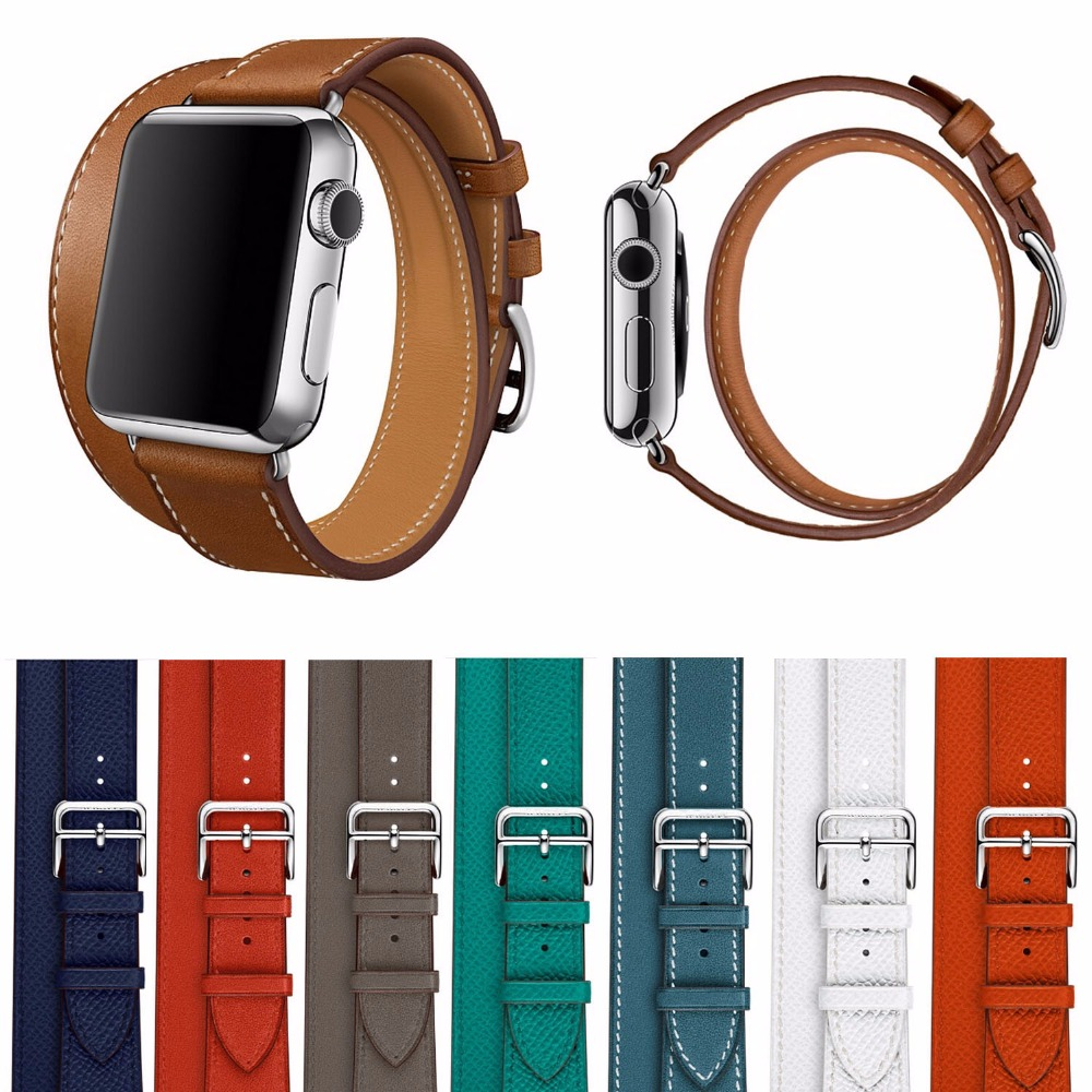 Fashion Extra Long Bracelet Strap For Series 2 Double Tour Litchi Genuine Leather Watchband for Apple Watch iWatch 1st 2nd<br><br>Aliexpress