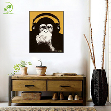Single Picture Modular Canvas Oil Painting Framed Animal Picture Monkey Wearing Headphones Orangutan Prints Art Home Deco Poster