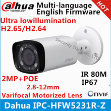 Dahua low-illuminance IPC-HFW5231R-Z 2.8mm ~12mm varifocal motorized lens 2MP IR80M IP Camera with POE multi-language Firmware(China)