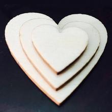100pcs/lot 4 Sizes Mixed Rustic Wooden Love Heart Shaped Mininature Wedding Parties Decorative Ornament Table Scatter Decoration