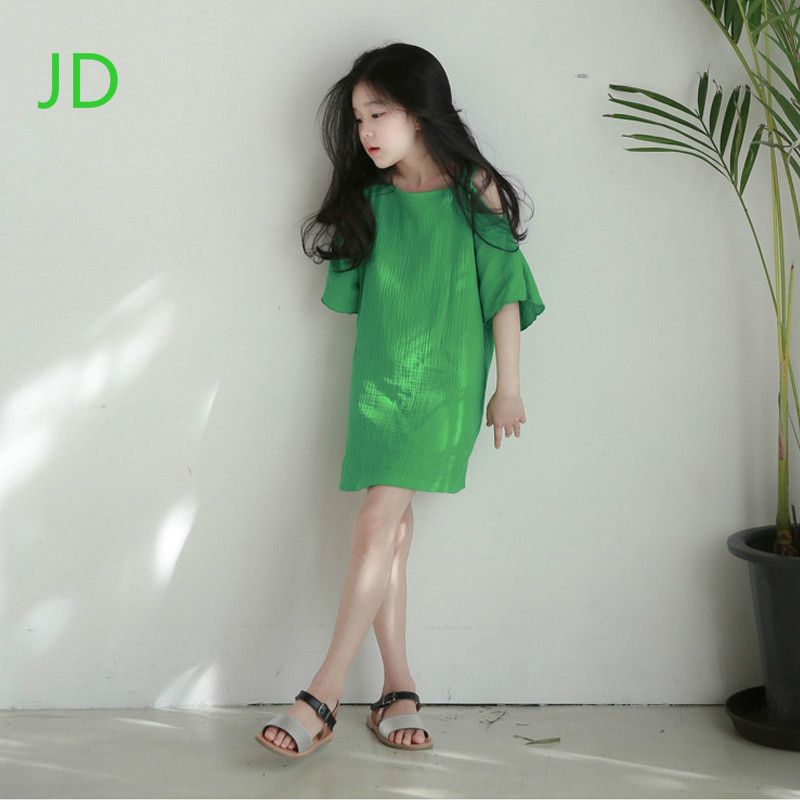 The New Girls Dress Popular Short-sleeved Summer Condole Belt Vest Dress Leisure Beach Dresses of The Girls<br>