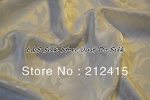 Free shipping 100% mulberry silk fabric jacquard weave style soft color white for bedding pillowcase dress scraf  #ls0701w