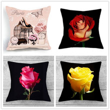 wholesale good Fashion Beautiful pink floral Blue Rose Flower wedding gift Cushion cover Sofa Home car Decorative Pillow case