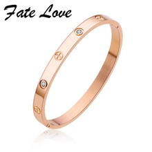 Fate Love Romantic Open Bracelets Inlaid Zirconia Rose Gold 4 Colors Cross Screw Design Stainlese Steel Valentine's Gift FL854