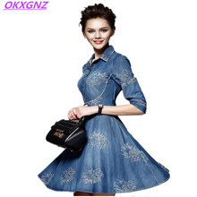 Okxgnz mulheres denim dress 2017 primavera/outono nova europa moda manga curta bordado grande pêndulo plus size cowboy dress a024