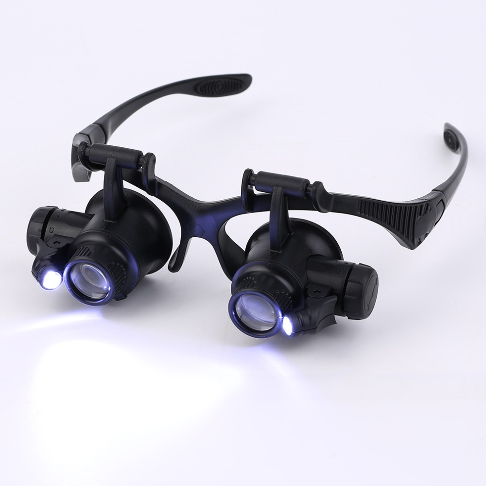 New Design Binocular Glasses Type 20X Watch Repair Magnifier with LED Light Hunting Optics In Stock(China (Mainland))