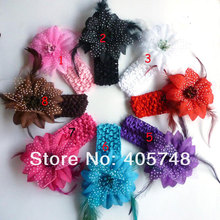 12pcs girls 1.5inch stretch crochet headband with 4inch feather flowers photography party hair flowers red black pink purple