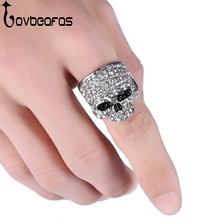 LOVBEAFAS 2017 Fashion Rock Punk Gold Silver Black Crystal Skull Ring For Women/Men Jewelry Gothic Biker Rings Women Party Gift(China)