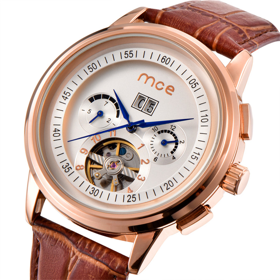 MCE Rose Golden Bezel Tourbillion Designer Genuine Leather Band Male Automatic Wrist Watches Mens Watches Top Brand Luxury<br>