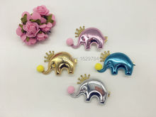 20pcs/4C Fashion Cute Pom Pom Glitter Tiaras Elephant Girls Hairpins Solid Kawaii PU Cartoon Animal Girls Hair Clips Headware