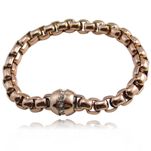 High Quality Wholesale Brand Name Jewelry New Fashion Bracelets Rose Gold Color Circular Magnet Crystal Women Bracelet