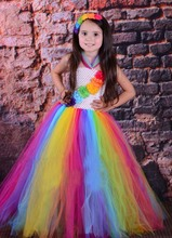 Candy Rainbow Birthday Tutu Dress Children Girls Spring Summer Dress Halloween Christmas Carnival Costume Photo Props TS095(China)
