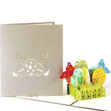 3D Laser Cut Handmade Carving Rainbow Butterfly Easter Eggs Paper Invitation Greeting Cards PostCard Children Kids Creative Gift
