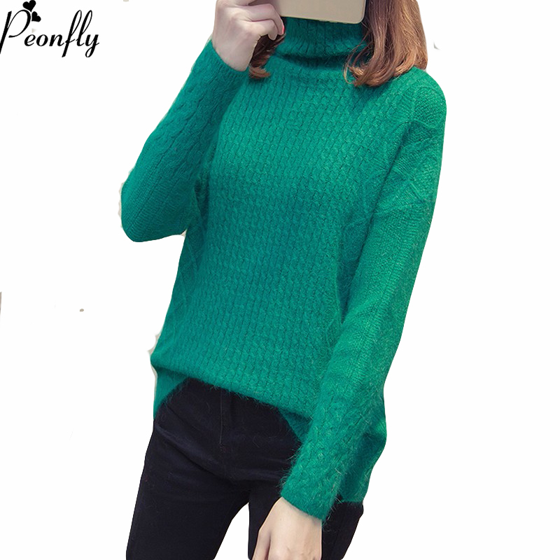 PEONFLY Sweaters Women Solid Color Jumper Knitting Tops New Hemp Flowers Turtleneck High Quality Female Casual Pullovers Clothes