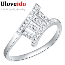 Costume Jewelry Rings for Women Silver Engagement Wedding Square Wedding Female Ring with Stones Jewelery Kpop Uloveido J107