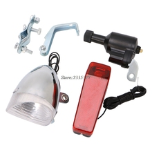 (QILEJVS)Motorized Bike Bicycle Friction Dynamo Generator Head Tail Light With Acessories APR14_17