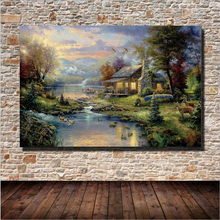 New Designer Green Forest Landscape Canvas Painting Wall Art Home Decoration Oil Paintings On Canvas Unframed