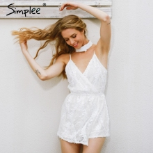 Buy Simplee Sexy halter sequined jumpsuit romper Chic deep v neck white lace  playsuit women Summer sleeveless party club overalls