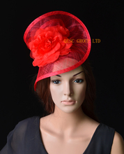 NEW Red Sinamay fascinator hat silk flower  for wedding,kentucky derby,ascot races,melbourne cup.FREE SHIPPING.