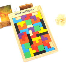 Wooden Tangram Brain Teaser Puzzle Toys Tetris Game Preschool Magination Intellectual Educational Kid Gift Funny gadgets(China)