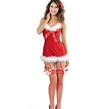 2016 Winter Women Party Club Red Christmas Costumes Sexy Butterfly Christmas Costume Adult New Year Clothes LC7199