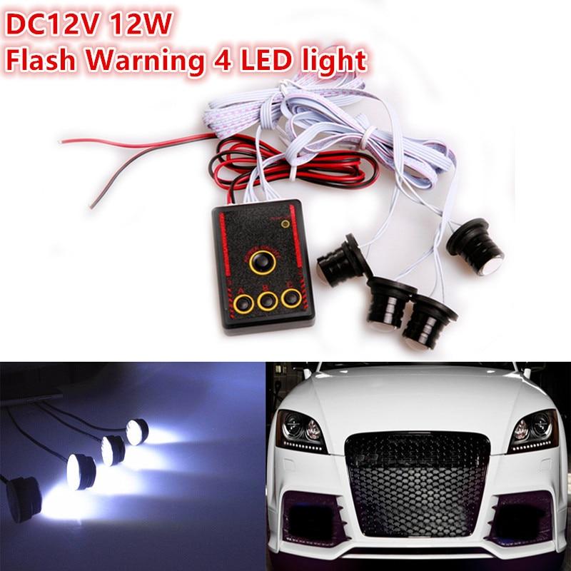 1Pcs 12V 12W Flash Warning 4 LED Strobe Flashing Hazard Light Warning Emergency Fog Lamp Car Wireless Remote Control<br><br>Aliexpress