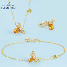 LAMOON Natural Citrine Women Fine Jewelry 14K Yellow Gold Plated Bridal Jewelry Sets 925 Sterling Silver Wedding Gifts V027-1