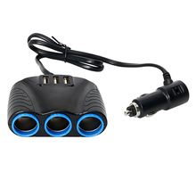 Car Cigarette Lighter Adapter 5V 3.1A Output Car Charger 3 USB Port 12V/24V 120W Lighter Sockets Splitter Universal 3 Way