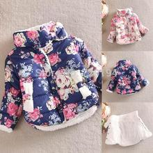 Casual Print 2017 Manufacturer Wholesalewarm Princess Girls Floral Thick Outerwear Long Sleeve Jacket Cotton Coatfreeshipping