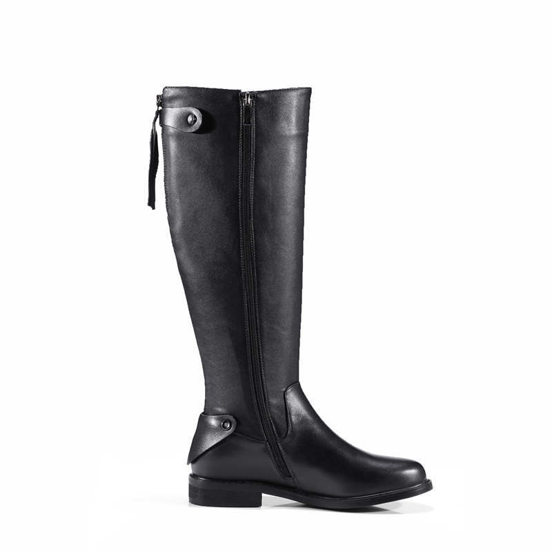 ZJVI women fashion knee high boots woman autumn winter thigh high boots womens genuine leather boots ladies 2018 black shoes