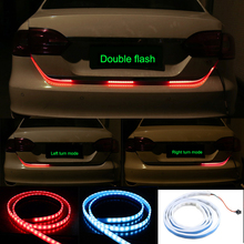 OKEEN red blue led trunk strip Flowing Rear Trunk Light red Turn Signal Strip Dynamic Streamer Reverse LED Warning Flash Lights(China)