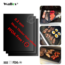 WALFOS Extra thick 0.2mm heat resistant teflon baking mat BBQ Grill Mat Reusable non-stick barbecue grilling sheet liner bbq mat(China)