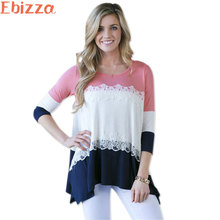 Ebizza 3/4 Sleeve Three Color Patchwork Lace Flower Women T Shirts Casual O Neck Striped Knitted Rainbow Tees Female 2017 Free