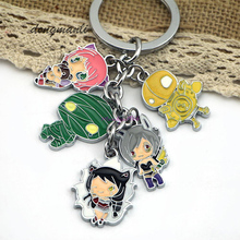 Cartoon Amumu Keychain Metal 5 Figure Pendant Teemo Galen Lulu Ahri Ezreal Steam Robot  jewelry accessories
