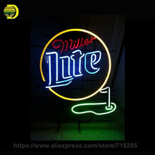 Custom Neon Signs Miller Light Golf 19x15 Handmade Glass Tube Neon Light Sign Room Recreation Decorate Gifts Commercial Display(China)