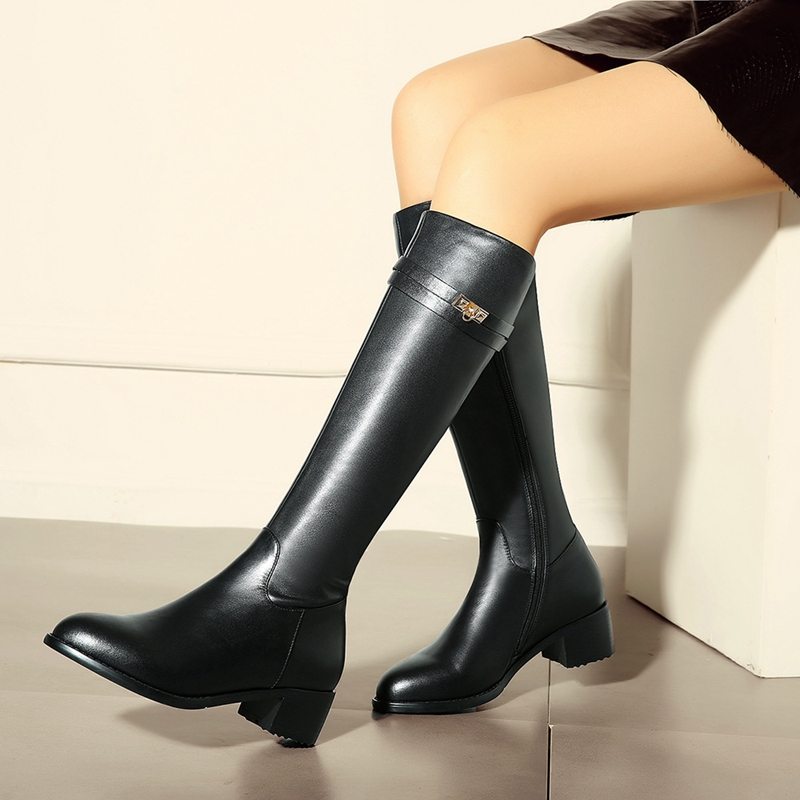 Black Cowhide Uppers Stovepipe Knee High Boots For Women Round Toe Side Zippers Medium Thick Heels Fashion All-match Shoes<br><br>Aliexpress