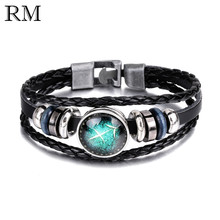 Buy 12 Constellations Alloy Leather Bracelet Men Women Fashion Beaded Woven PU Rope Bangle Birthday Gift Jewelry bileklik for $1.30 in AliExpress store