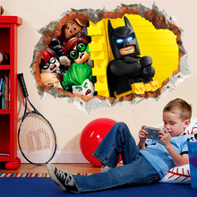 3d effect smile batman through wall stickers for kids rooms home decor cartoon pvc wall decals diy mural art posters boy's gift(China)
