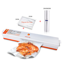 Household Food Vacuum Sealer Packaging Machine Film Saver Rolls Sealer Vacuum Packer With Free Gift 15 Bags Vacuum Food Sealer(China)