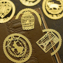 Cute Creative Products Stationery  Gold Metal Bookmark Fashion Birdcage Crown Cat Clips for Books Paper