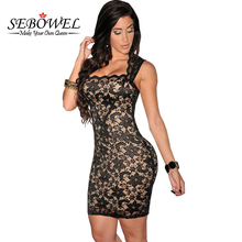 SEBOWEL 2017 Elegant Women Black Lace Dress Sexy Sleeveless Party Mini Dresses Ladies Slim Sheath Bodycon Vestido De Festa XXL(China)